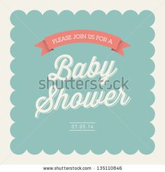 Baby shower invitation card editable with type font ribbon frame