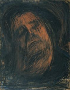 Leon Kossoff Head of Seedo IV, Charcoal and Pastel on Kraft paper and Carton