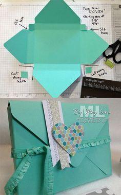 Envelope template Box Cards Tutorial, Card Tutorials, Diy Envelope Tutorial, Diy Tutorial, Diy Envelope Template, Origami Tutorial, Photo Tutorial, Video Tutorials, Diy Paper