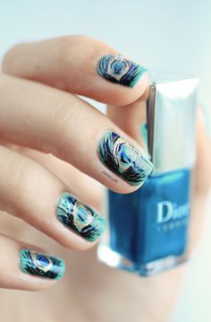 Dior Bird of Paradise Peacock nail art