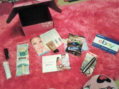 My pile of products - and yes I'm wearing my pink fuzzy pj pants :P