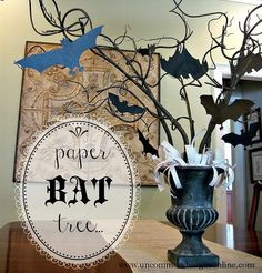 Paper Bat Halloween Centerpiece