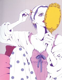 "Nana Osaki holding vanity hand mirror & applying mascara from ""Nana"" series by manga artist Ai Yazawa."