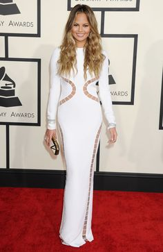 Chrissy Teigen Wearing Emilio Pucci at 2015 Grammy Awards in Los Angeles