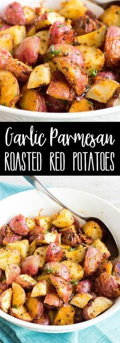 Roasted Red Potatoes are an easy to make side dish that cook in the oven right alongside your favorite dinners! via Roasted Red Potatoes are an easy to make side dish that cook in the oven right alongside your favorite dinners! Potato Sides, Potato Side Dishes, Cookout Side Dishes, Oven Dishes, Oven Roasted Red Potatoes, Garlic Parmesan Potatoes, Red Potatos In Oven, Easy Oven Roasted Potatoes, Cauliflowers