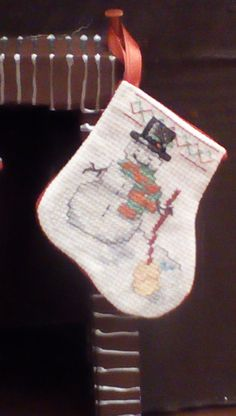 Snowman Miniature stocking by Tricia556 on Etsy