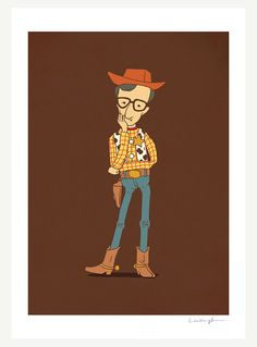 Illustration | Sheriff Woody Allen print by Heng Swee Lim $30.00 ##toyStory #sheriffWoody #woodyAllen