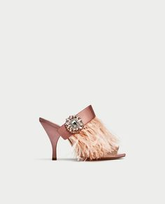 Image 2 of HIGH HEEL MULES WITH FEATHER AND BROOCH DETAIL from Zara