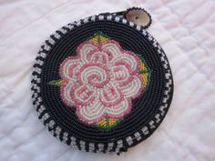 vintage 1950s hand BEADED COIN PURSE round black by TheVintageNutt, $18.00
