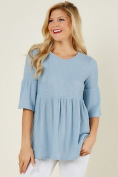 Year Round Blue Top at reddressboutique.com