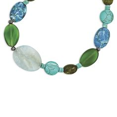 Sterling Silver Blue & Green Agate/Jasper/Howlite/Turquoise Necklace QH4578-16