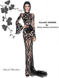 Kendall Jenner in Roberto Cavalli at #Cannes2016. #digitaldrawing by David Mandeiro Illustrations. #KendallJenner #RobertoCavalli