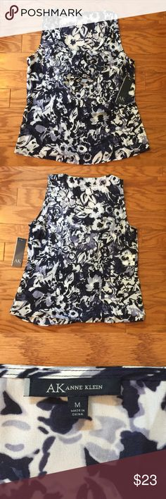 Anne Klein sleeveless top M NWT‼️ Anne Klein Blue, White and Lavender Floral sleeveless top! Anne Klein Tops