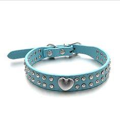 2 Rhinestone Bling Heart Studded Leather Dog Collar For Small Medium Pet SP