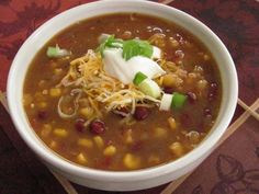 Slow Cooker Vegetarian Enchilada Soup makes a great Meatless Monday dinner.  (From Louanne's Kitchen via Slow Cooker from Scratch.)