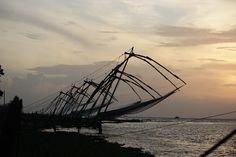 chinese fishing nets, sunset, kerala  #Kochi #KochiAirport #KochiPlaces