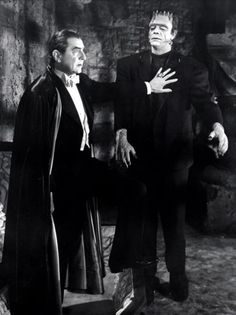 Bela Lugosi as Dracula with Glenn Strange as Frankenstein's monster.