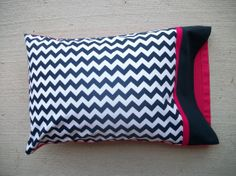 Navy Blue Chevron/Hot Pink Travel Pillow & Pillowcase