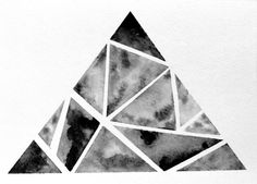 Original Geometric Triangle Watercolor Painting by prettyinc, $25.00