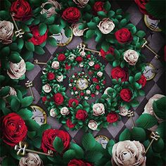 Photography Backdrop Background Alice in Wonderland Theme Photo Backdrops Rose Flowers Broken Mirror with Rabbit Backgrounds for Portrait Photos