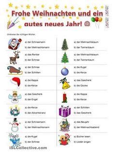 Sieh dir die Bilder an und umkreise die richtigen Weihnachtswörter. - DaF Arbeitsblätter