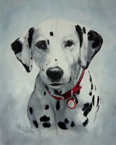 Dalmatian dog (black spotted) by Anne Zoutsos, painting by artist Anne Zoutsos