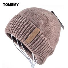 #DealOfTheDay #BestPrice Winter Beanies Solid Color Hat men Knitted Warm Soft Beanie Double layer plus thick velvet Cap bonnet Gorro Caps…