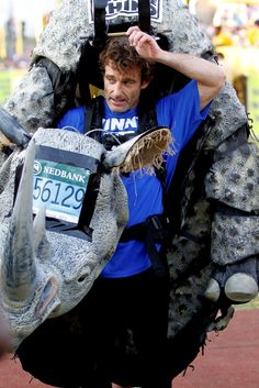 This man doesn't look like he has just run 76km in the South African heat for Save the Rhino!