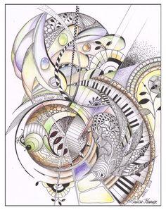 Zentangle Drawings, Doodles Zentangles, Zentangle Patterns, Doodle Drawings, Zen Doodle, Doodle Art, Music Drawings, Tangle Art, Zen Art