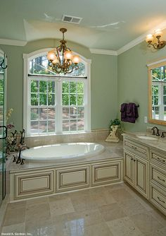 The Rowan - 1366. Soothing colors in this master bath make it a relaxing retreat! http://www.dongardner.com/plan_details.aspx?pid=4713. #Master #Bathroom #Design