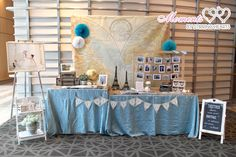 {stirringhearts} Vintage Travel Wedding - Photo Display Table at Pan Pacific Singapore