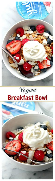 Yogurt Breakfast Bowl | www.diethood.com | Make your favorite morning meals more nutritious with this protein-packed, berry-loaded breakfast bowl.