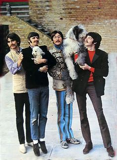 ringo and paul with some furry friends (is that Martha My Dear with Paul?)