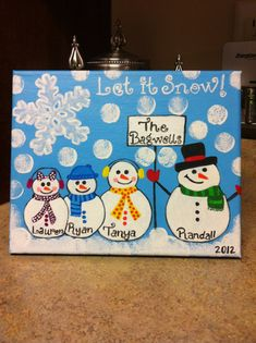 Christmas Snowman Family Canvas by cutestcanvas on Etsy, $35.00