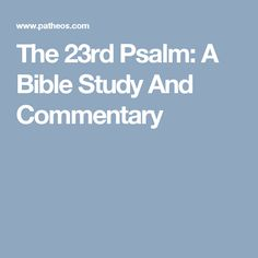 Sermons or essays on 23rd psalm