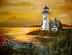 Watercolor Paintings of Lighthouses | Watercolor Painting Lighthouses