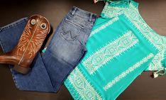 Un bel ensemble western pour mesdames! Westerns, Western Outfits, Mom Jeans, Pants, Clothes, Fashion, Western Wear, Trouser Pants, Outfits