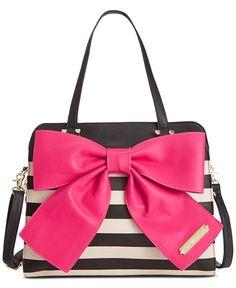 ec5dca2bac Betsey Johnson Bow Tote - Stripe w  pink bow Betsey Johnson Handbags