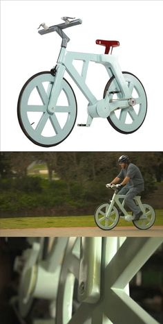 The recycle bicycle: Cardboard bike that costs twenty dollars to build and doesn't get soggy in the rain ( Sealed with biodegradable waterproof resin ; expected life span 2 years+  http://www.dailymail.co.uk/sciencetech/article-2204449/The-10-cardboard-bicycle-CAN-ride-rain.html )