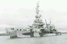 8 in heavy cruiser USS Pensacola in 1943: lead ship of the first US Navy class built to 10000 ton Washington Treaty limits. They were over-gunned for their weight (10 guns in 4 turrets) and top heavy: only two were built (Salt Lake City being the other) before their deficiencies were remedied in the succeeding 9 gun / 3 turret 'Northampton' class. Nonetheless, she earned 13 battle stars.