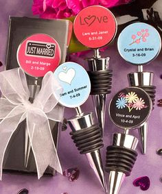 Personalized Expressions Collection wine bottle stopper favors. I love all the personalized options they are so pretty.