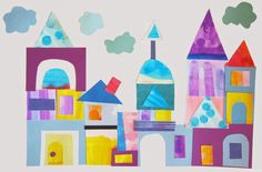 K/1st/2nd: Paul Klee Inspired Castle/City to use up scraps