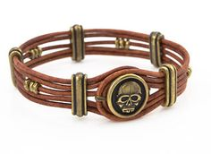 Easy Rider Bracelet featuring TierraCast Scary Skull Button. Design by Tracy Gonzales for TierraCast.
