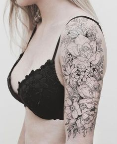 Floral Half Sleeve Tattoo by tritoan__seventhday