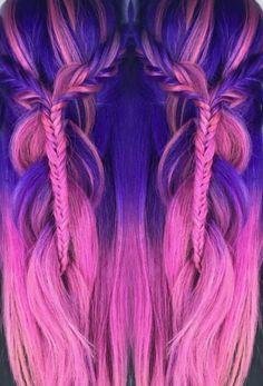 Pink purple dyed hair