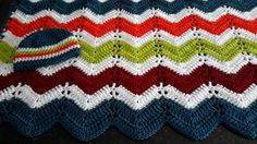 Baby Blanket, Crochet Baby Blanket, Toddler Baby Boy Blanket, Colorful blanket, Crochet Chevron Baby Afghan