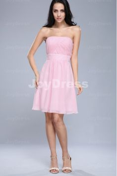 Ruched A-line Strapless Knee-length Dress