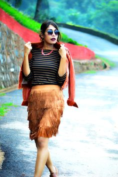 Fringed Skirt and an all-earthy look.