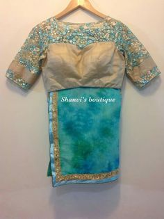 Jute shibori saree with designer boat neck blouse