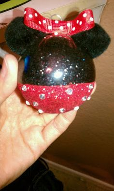 DIY Minnie Mouse Christmas Ornament...for the year we give the kids a trip to Disney for a gift!